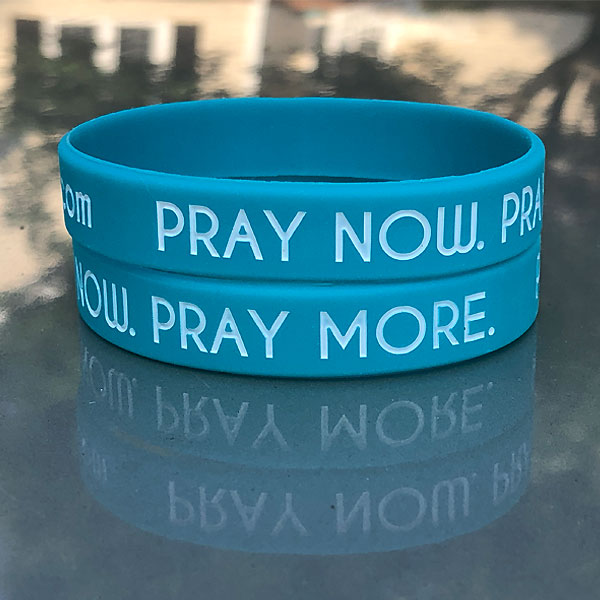 Pray Now Pray More Wristbands Stacked